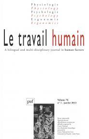 travail humain 2013, vol. 76 (1)
