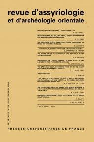 Rev. d'assyrio. et d'archéo. orient. 2018, vol. 112