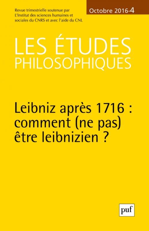 u00e9tudes philosophiques 2016  n u00b0 4 - - etudes philosophiques  les